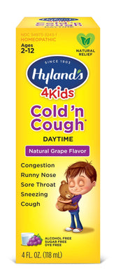 Hyland's Cold and Cough 4 Kids, Grape Flavored, Cough Syrup Medicine for Kids, Decongestant, Sore Throat Relief, Natural Treatment for Common Cold Symptoms, 4 Fl Oz