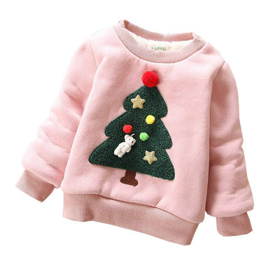 BibiCola Baby Girls Boys Autumn Winter Wear Warm Cartoon Sweaters Outerwear (12M, Pink)
