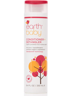 Earth Baby Conditioner + Detangler, Hypoallergenic for Sensitive Skin, Natural and Organic, for Babies and Toddlers, 8.4 Fl Oz