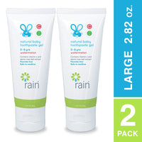 Rain Natural Baby Kids Fluoride-Free Toothpaste Gel - Infant Toddler Vegan Tooth Paste, 2.82 Oz Safe to Swallow, Babys Dental Training, With Vitamin C, Ages 0 to 6 Years Watermelon Toothpaste for Kids