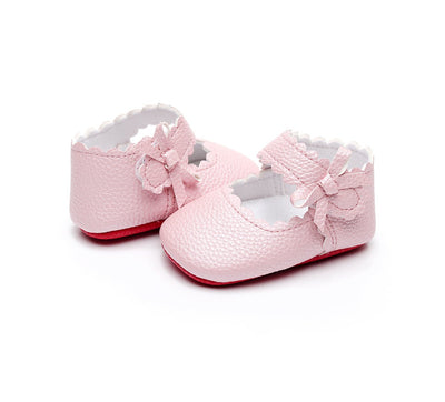 HONGTEYA Baby Girls Ballet Dress Shoes - Mary Jane Soft Sole Sidebow Toddler Moccasins