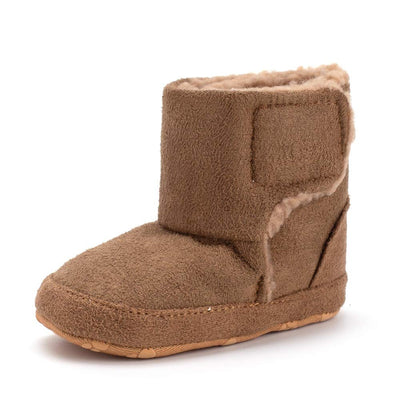 Bebila Warm Winter Baby Boots with Soft Fleece Fur Lined Toddler Booties Anti-Slip Sole Shoes for Girls Boys (Brown)