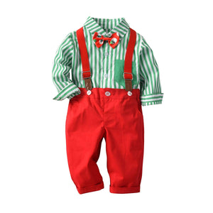 MHSH Baby Boys Gentleman Stripe Shirt Bowtie Pants Outfits Suits, Toddlers Suspender Overalls Clothes Sets