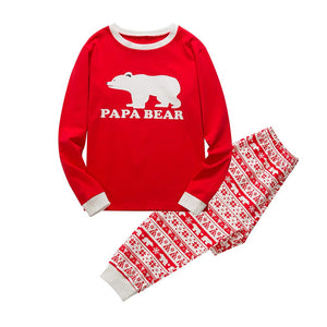 Baywell Christmas Family Holiday Bear Warm Printed Pajama Family Clothes Sets
