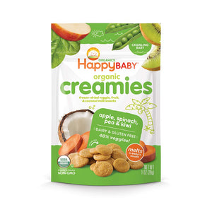 Happy Baby Organic Creamies Freeze-Dried Veggie & Fruit Snacks with Coconut Milk Apple Spinach Pea & Kiwi, 1 Ounce Bag (Pack of 8) (Packaging May Vary)