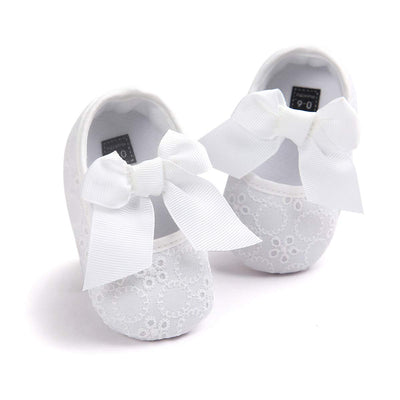 HsdsBebe Baby Girls Bowknot Cotton Mary Jane Shoes Soft Sole Toddler Fisrt Walkers Infant Princess Crib Flats First Birthday Party Gift