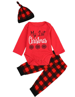 Infant Baby Boys Girls 3-Piece My First Christmas Snowflake Plaid Bodysuit
