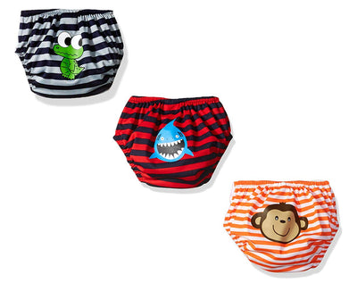 KIKO & MAX Baby Boys' Infant Three-Pack Absorbant Reusable Swim Diaper