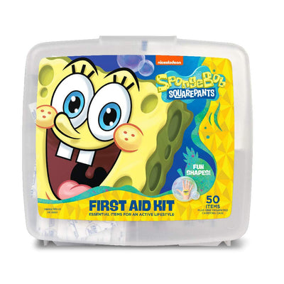 Spongebob First Aid Kit for Kids with Fun Shaped Bandages | Includes 50 Items Plus One Organized Carrying Case (Spongebob)