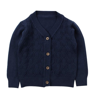 Baby Boy Cardigan Infant Toddler Crochet Sweater V-Neck,Button Up,Knitted Pattern Pullover Sweatshirt Spring