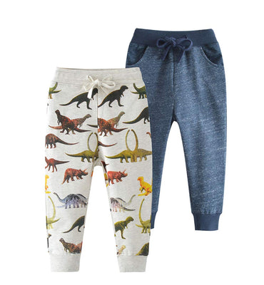 HUAER& Baby Boy's Jogger Pants Dinosaur Car Animal Print Drawstring Elastic Sweatpants (1-Pack 2-Pack)