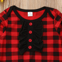 Infant Toddler Baby Girls Red Plaid Ruffle Romper Jumpsuit Long Sleeve One-Piece Outfit Fall Winter Clothes