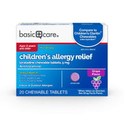 Basic Care Children's Loratadine Allergy Relief Chewable Tablets, Grape Flavor, 20Count