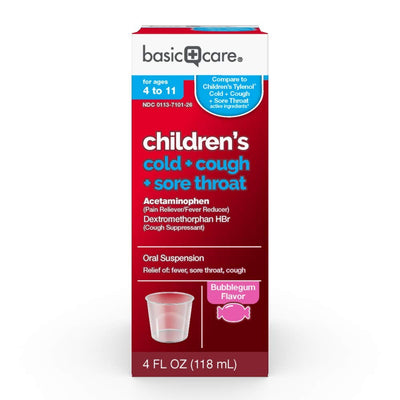 Basic Care Children's Cold, Cough & Sore Throat Oral Suspension, Bubblegum Flavor, 4 Fluid Ounce