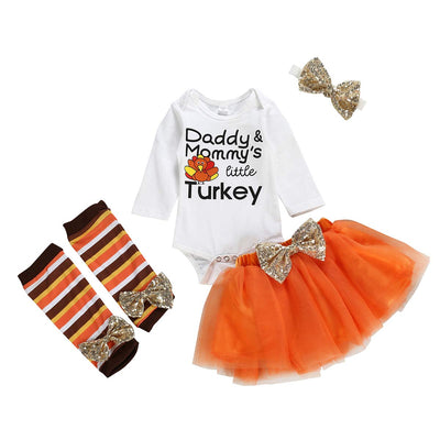 Baby Girl Thanksgiving Outfit Bodysuit+Tutu Skirt+Leg Warmer+Bunny Headband Set