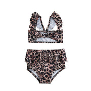 2Pcs Set Toddler Baby Girl Swimsuit Floral Leopard Ruffle Swimwear Bikini Tankini Sunsuit