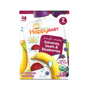 Happy Baby Organic Baby Food Simple Combos Stage 2 Bananas Beets & Blueberries, 4 Ounce Pouch Resealable Baby Food Pouches, Fruit & Veggie Puree, Organic Non-GMO Gluten Free Kosher