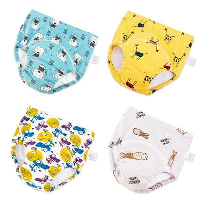 U0U Baby Boys Girls Cotton Training Pants Toddler Kids Potty Training Underwear 4 Pack