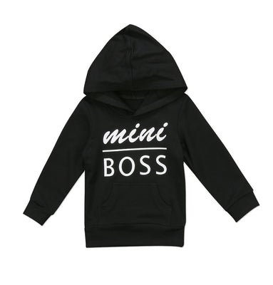 0-5T Baby Boy Girl Mini Boss Hoodie Tops Toddler Hooded Sweater Casual Hoodies with Pocket Outdoor Outfit (2-3 Years, Black)