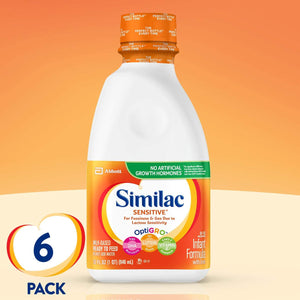 Similac Sensitive Infant Formula with Iron, Ready to Feed, 1 qt (Pack of 6) (Pack May Vary)