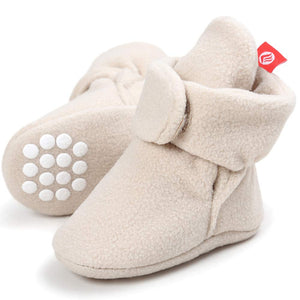 Newborn Baby Soft Fleece Booties Infant Boy Girl Cozy Socks with Non Skid Gripper Stay On Slippers Toddler First Walkers Winter Ankle Crib Shoes First Birthday Shower Gift