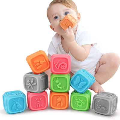 TUMAMA Baby Blocks,Soft Baby Building Blocks for Toddlers,Teething Chewing Toys Educational Baby Bath Toys Play with Numbers, Shapes, Animals ,Letter& Insect for 0-3 Years