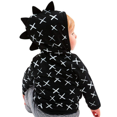Infant Toddler Baby Hoodie Shirts Cute Dinosaur Cross Pattern Kids Zipper Black Tops
