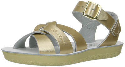 Salt Water Sandals by Hoy Shoe Girls' Sun-San Swimmer Flat Sandal, Gold, 8 M US Toddler