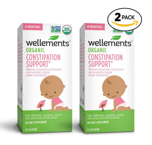 Wellements Organic Baby Move for Constipation, 4 Fl Oz, 2 Count, Free from Dyes, Parabens, Preservatives