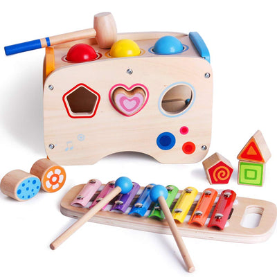 bodolo 3 in 1 Wooden Educational Set Pounding Bench Toys with Slide Out Xylophone and Shape Matching Blocks for Kids Baby Toddlers 1 2 3 Year Old