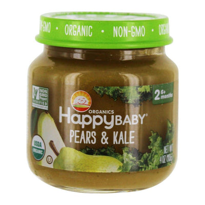 HAPPY BABY Organic Stage 2 Pears & Kale Baby Food, 4 OZ