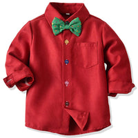 Toddler Dress Suit Baby Boys Clothes Sets Bowtie Shirts + Suspenders Pants 3pcs Gentleman Outfits Suits 6 Month - 6 Years
