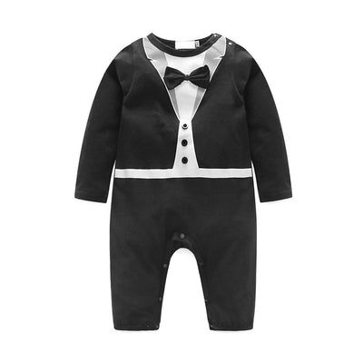 Baby Boy Romper Tuxedo Jumpsuit Gentleman One-Piece Button-Down Bowtie Wedding Suit Bodysuit