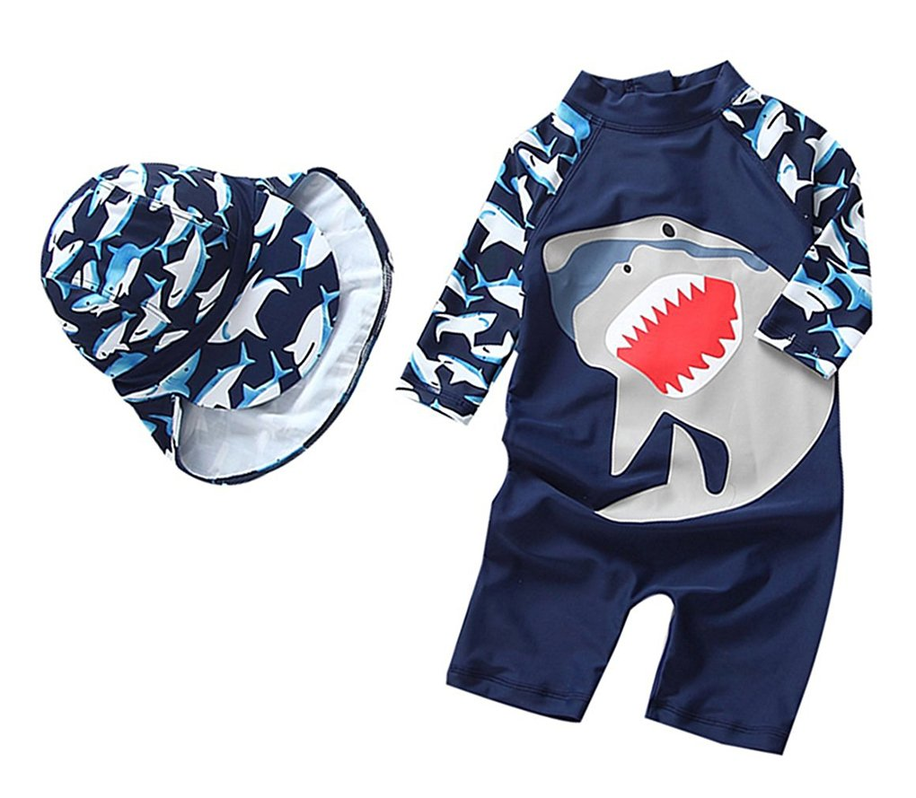 Yober Baby Boys Kids Swimsuit One Piece Toddlers Zipper Bathing Suit Swimwear with Hat Rash Guard Surfing Suit UPF 50+ FBA