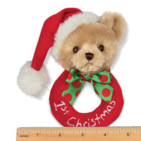 Bearington Baby's 1st Christmas Plush Soft Ring Rattle, 5.5 inches