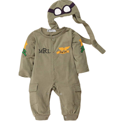 LOOLY Baby Boys Pilot Two Piece Layette Set Toddler Outfits with Cap