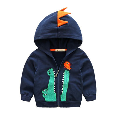 Dealone Baby Boys Long Sleeve Dinosaur Hoodies Kids Sweatshirt Toddler Zip-up Jacket Navy