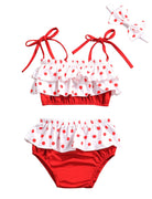 Baby Girl Swimsuit Ruffle Red Dot Top and Bikinis Skirt with Headband 2 Piece Swimwear