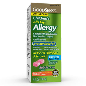 Goodsense Children's All-Day Allergy, Cetirizine Hydrochloride Oral Solution 1 Mg/ml, Bubble Gum, 4 Fluid Ounce