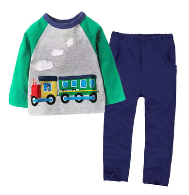 Boys Long Sleeve Clothing Set Baby T-Shirt+Pants Outfits Pajamas Set