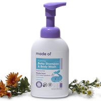 MADE OF Foaming Organic Baby Wash and Shampoo - for Sensitive Skin and Baby Eczema Wash - NSF Organic and EWG Verified - Made in USA - 10oz (Fragrance Free, 1-Pack)