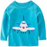 Csbks Boy Long Sleeve T Shirt Cotton Crewneck Cartoon Tees 1-8 Toddler