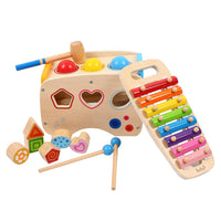 Joyshare 3 in 1 Pounding Bench Xylophone and Shape Toys - Educational Matching Blocks multifunctionla Early Educational Set Bepresent for Age 1 2 3 Years Old and Up Kid Children Baby Toddler Boy Girl