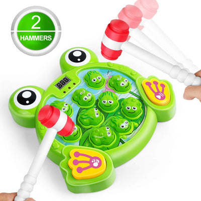 LURLIN Interactive Whack A Frog Game, Durable Pounding Toy, Helps Fine Motor Skills, Fun Gift for Ages 2, 3, 4,5 6 Years Old Kids, Toddler, Boys, Girls, 2 Hammers Included