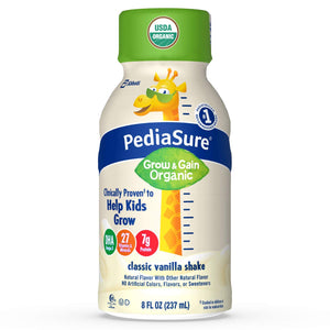 PediaSure Organic Kid's Nutrition Shake, Non-GMO, No Artificial Flavors or Colors, No Artificial Growth Hormones, 7g Protein, 32mg DHA Omega-3, Vanilla, 8 fl oz, 24 Count