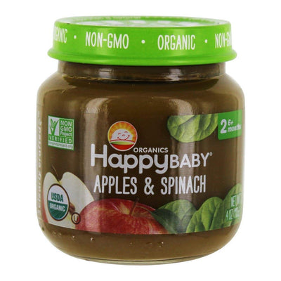 HAPPY BABY Organic Stage 2 Apples Spinach Baby Food, 4 OZ