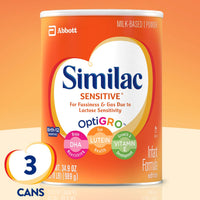Similac Sensitive Infant Formula with Iron, Powder, One Month Supply, 34.9 ounces (Pack of 3)