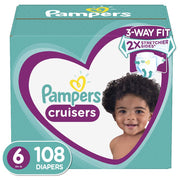 Diapers Size 6, 108 Count - Pampers Cruisers Disposable Baby Diapers, ONE MONTH SUPPLY