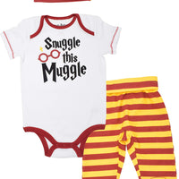 Harry Potter Baby Boys' Layette Clothing Set Bodysuit Pants with Footies & Hat