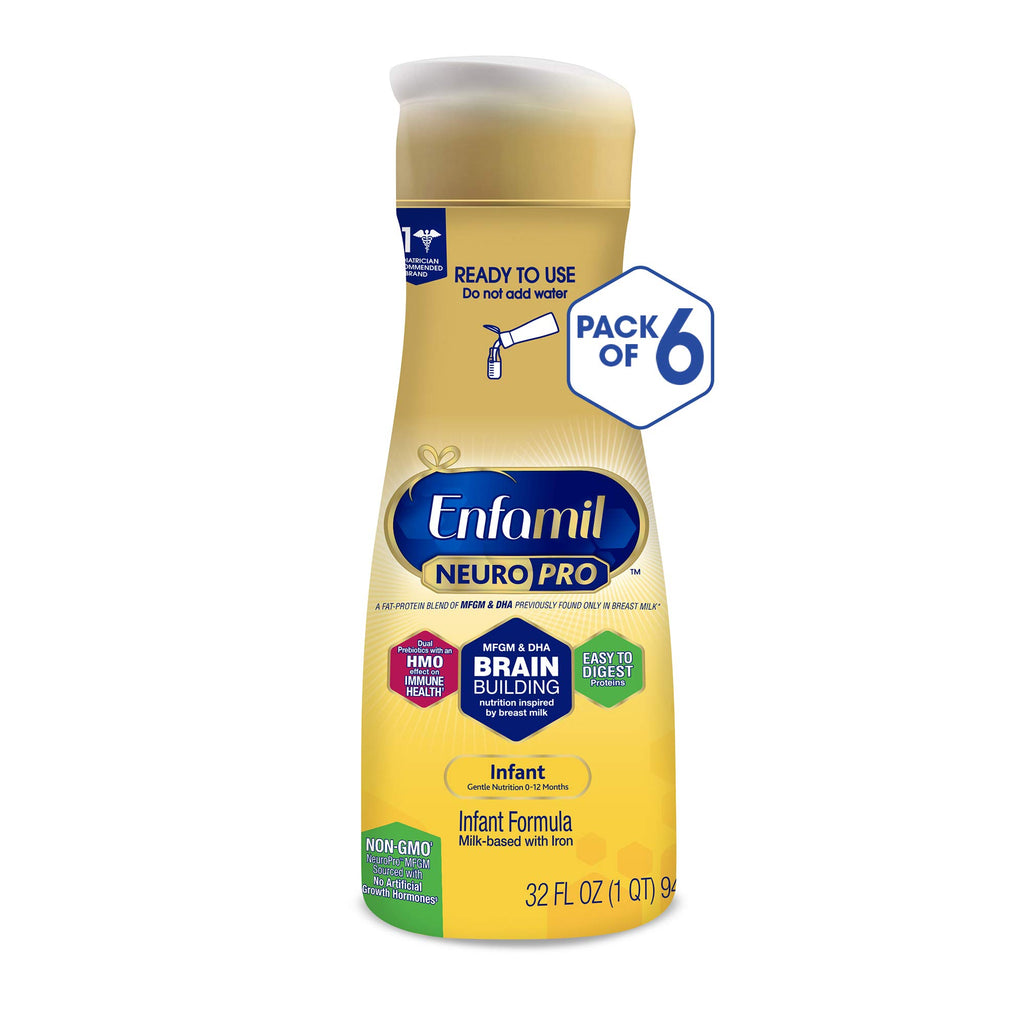 Enfamil NeuroPro Ready to Feed Baby Formula Milk, 32 fluid ounce (6 count) - MFGM, Omega 3 DHA, Probiotics, Iron & Immune Support